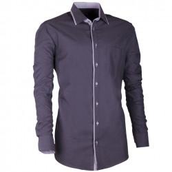 Šedá pánská košile s dlouhým rukávem slim fit Assante 30675