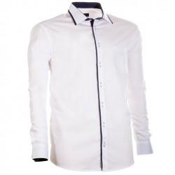 Bílá pánská košile s dlouhým rukávem rovná Assante 30701