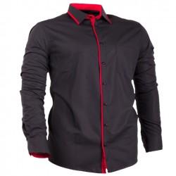 Černá pánská košile s dlouhým rukávem rovná Assante 30702