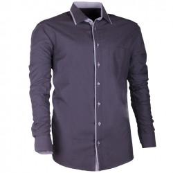 Šedá pánská košile s dlouhým rukávem rovná Assante 30704