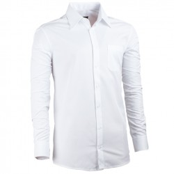 Bílá pánská košile s dlouhým rukávem rovná Assante 30014