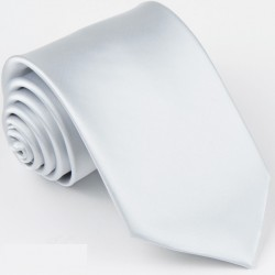 Pánská bílá jednobarevná kravata Greg 99920