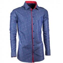 Prodloužená pánská košile slim modro červená Assante 20795