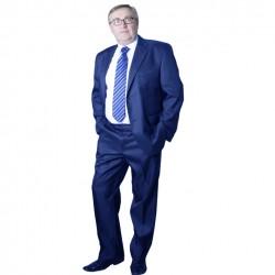 Modrý pánský oblek extra prodloužený na výšku 188 - 194 cm Galant 160607