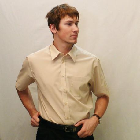 ab8a7c8910d Béžová pánská košile s krátkým rukávem slim fit Assante 40224