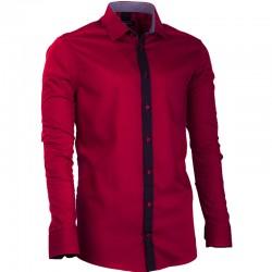 44b2dbbea31 Prodloužená pánská košile vínově červená slim fit Assante 20717