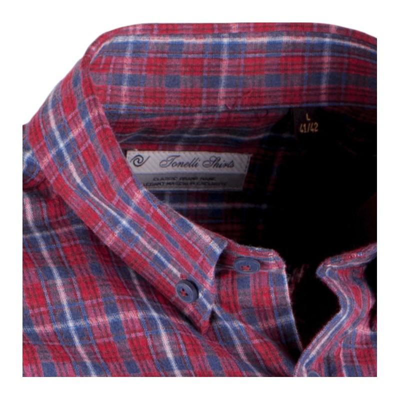 c3be9a85c209 ... Červeno modrá luxusní pánská flanelová košile teplá Tonelli 110909 ...