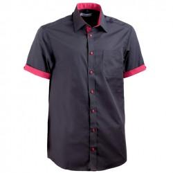 Černá pánská košile s krátkým rukávem rovná Aramgad 40142