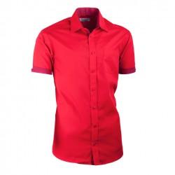 Červená košile Aramgad kombinovaná vypasovaná 40336