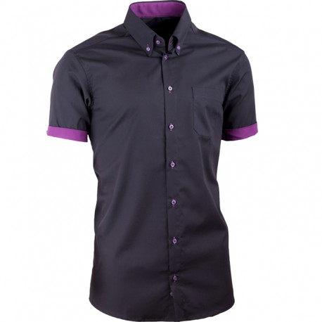 f027731f76a Černá pánská košile slim fit 100 % bavlna non iron Assante 40109