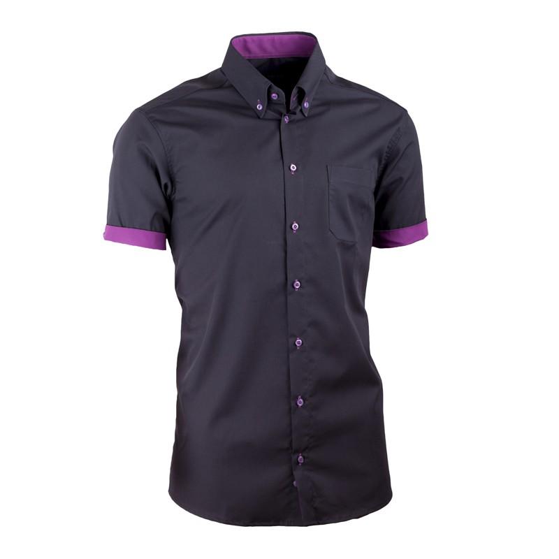 e6293df57e Černá pánská košile slim fit 100 % bavlna non iron Assante 40109