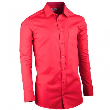 Červená pánská košile s dlouhým rukávem slim Aramgad 30382