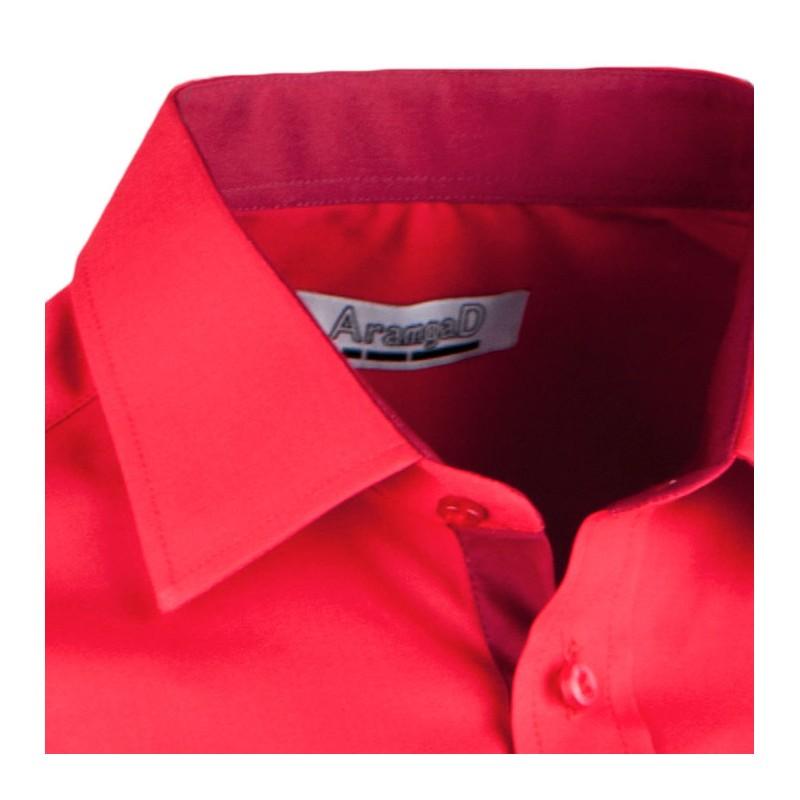 72945a84980 ... Červená pánská košile s dlouhým rukávem slim Aramgad 30382 ...