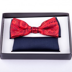 Červenomodrý svatební motýlek s kapesníčkem Assante 90236