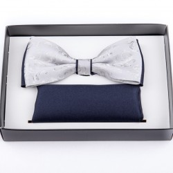 Šedý svatební motýlek s kapesníčkem Assante 90240
