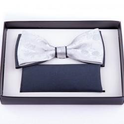 Stříbrný svatební motýlek s kapesníčkem Assante 90252