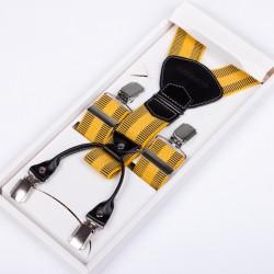 Luxusní žluté kšandy kožená poutka Assante 90028