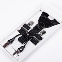 Luxusní černé kšandy kožená poutka Assante 90045