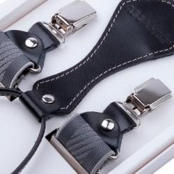 Luxusní šedé kšandy s hedvábným leskem kožená poutka Assante