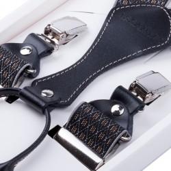 Luxusní černohnědé kšandy s hedvábným leskem kožená poutka Assante 90065