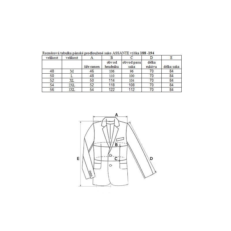 ... Prodloužené pánské sako modré na výšku 188 – 194 cm Assante 60005 09ab5a1148