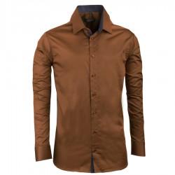 Extra prodloužená pánská košile slim fit bronzová Assante 20212
