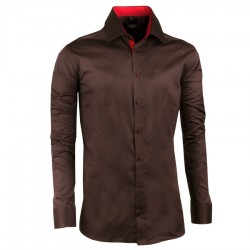 Extra prodloužená pánská košile slim fit tmavě hnědá Assante 20213