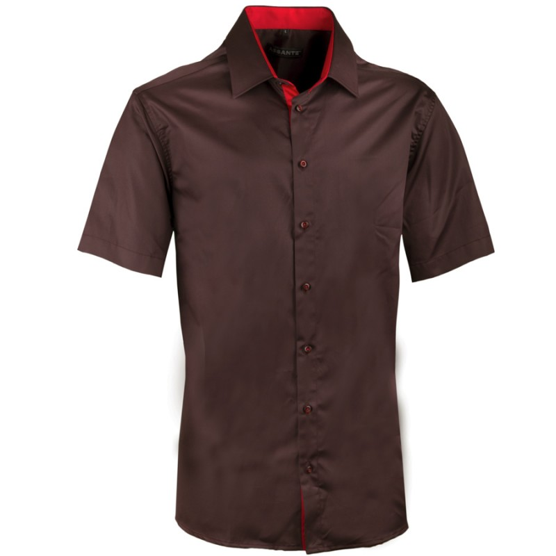 71564347c2e Pánská hnědá košile slim krátký rukáv 100% bavlna non iron Assante 40242 ...