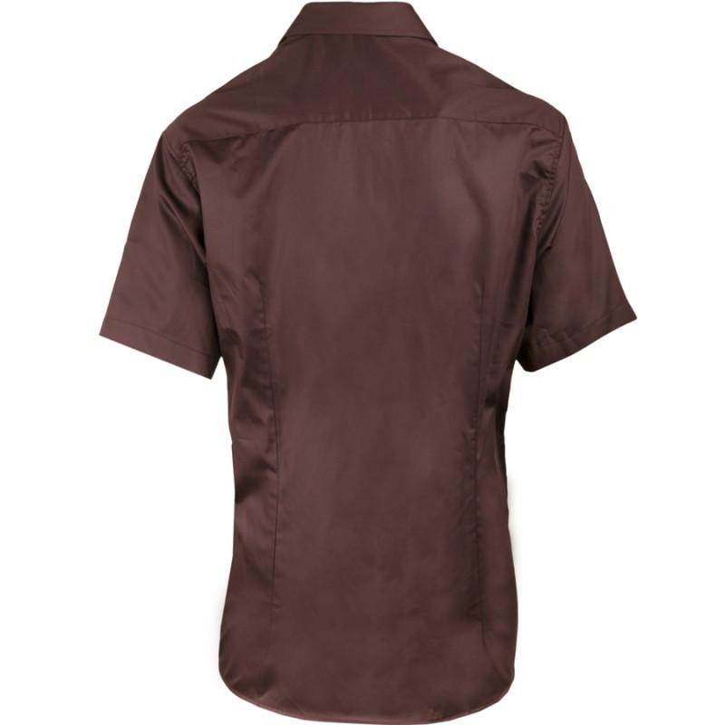 30a35ed8d31 ... Pánská hnědá košile slim krátký rukáv 100% bavlna non iron Assante  40242 ...
