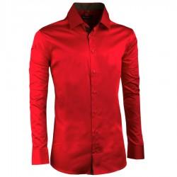 Prodloužená pánská košile slim karmínová Assante 20309
