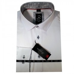 Bílá pánská košile dlouhý rukáv vypasovaný střih Brighton 109950