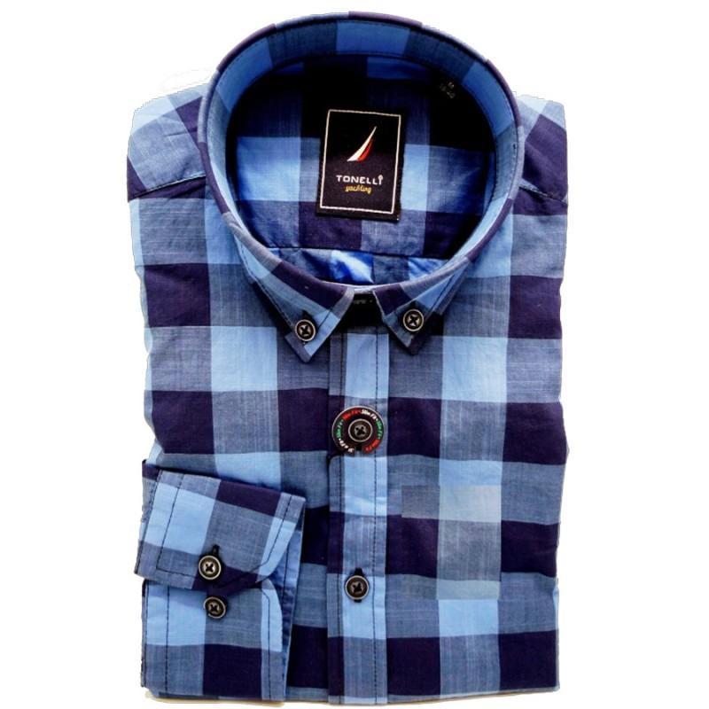 f5545d66178 Modrá pánské košile dlouhý rukáv rovný střih Tonelli 110912