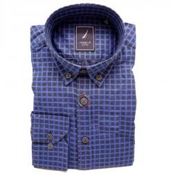 Modrá pánské košile dlouhý rukáv rovný střih Tonelli 110913