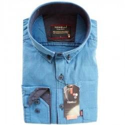 Modrá nadměrná pánské košile dlouhý rukáv rovný střih Tonelli 110915