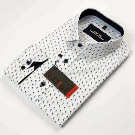 Bílá pánská košile dlouhý rukáv vypasovaný střih Native 120001