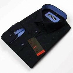 Modrá pánská košile dlouhý rukáv vypasovaný střih Native 120507