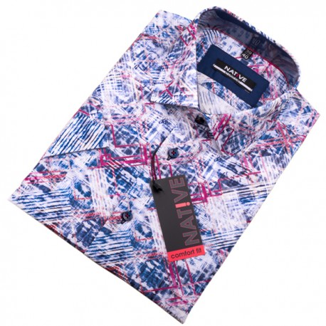 Modrá pánská košile s krátkým rukávem Native 120308