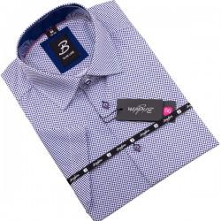 Modrobílá pánská košile krátký rukáv vypasovaný střih Brighton 109820