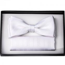 Bílý svatební motýlek s kapesníčkem Assante 90203