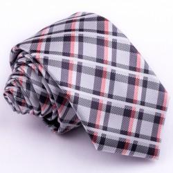 Úzká šedá kravata karovaná Greg 99050