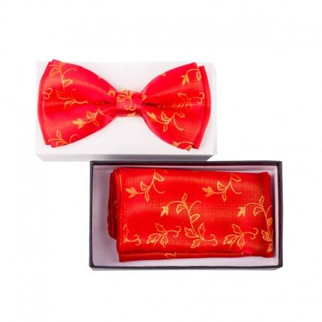 Pánský motýlek barva červená – zlatá Assante 90329