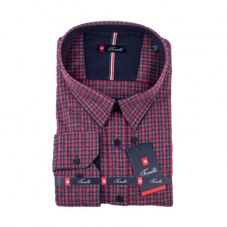 Červenomodrá kostičkovaná nadměrná košile Tonelli 110993