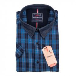 Pánská košile modrá krátký rukáv Tonelli 110880