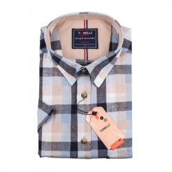 Pánská nadměrná košile modrošedá krátký rukáv Tonelli 110883