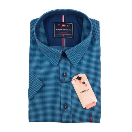 Pánská nadměrná košile modrá krátký rukáv Tonelli 110889