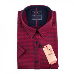Pánská nadměrná košile červená krátký rukáv Tonelli 110890