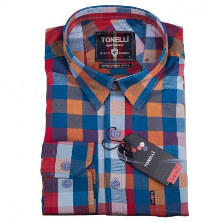 Pánská košile modrá dlouhý rukáv Tonelli 110925